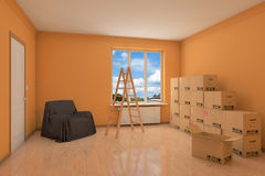 Empty apartment during relocation Royalty Free Stock Image