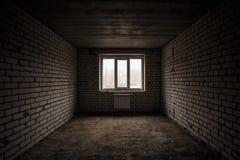 Empty apartment on white bricks. Beginning building Stock Photography