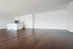 Empty apartment, white kitchen royalty free stock photos