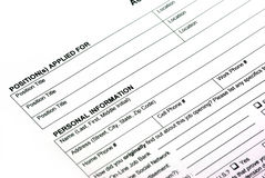 Empty application form Stock Photos