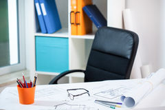 Empty architect's workplace Stock Photography