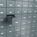 Empty Archive. Metallic Archive Rack with One Open Empty Drawer 3D Illustration Stock Images