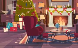 Empty Armchair Near Decorated Pine Tree And Fireplace , Home Interior Decoration For Christmas And New Year Holidays. Concept Flat Vector Illustration Royalty Free Stock Images
