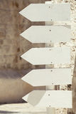 Empty wooden arrow signs. Pointing left. Outdoor Royalty Free Stock Photos
