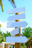 Empty arrow woode signs at beach Stock Photo