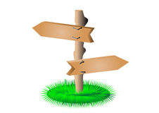 Empty arrows sign with a grass Royalty Free Stock Image