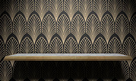 Empty Art Deco Shelf On Wall. An empty marble and gold trimmed shelf on a wall clad in art deco styled wallpaper pattern in gold and black Stock Photography