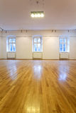 Empty art gallery with blank walls stock photo