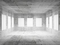 Empty art gallery concrete hall 3d interior Royalty Free Stock Image