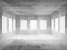 Empty art gallery concrete hall 3d interior. Empty art gallery concrete hall interior. 3d illustration Royalty Free Stock Image