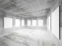 Empty art gallery concrete hall interior Stock Photo