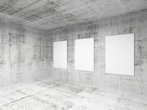 Empty art gallery hall interior. 3d render. Empty abstract art gallery concrete hall interior. 3d illustration Stock Images