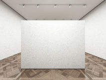 Empty art gallery with white wall. 3d render Stock Image