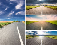 Empty aspalt road at day - collage. Road collage concept. Driving on an empty aspalt road at sunny day Royalty Free Stock Images