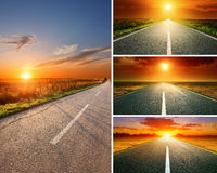 Empty aspalt road at sunset - collage. Road collage concept. Driving on an empty aspalt road at sunset Stock Photo