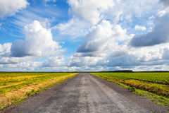 Empty asphalt country road with dramatic cloudy sky Stock Photo