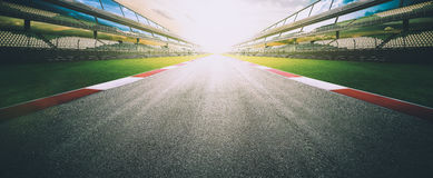 Empty asphalt international race track. View of the infinity empty asphalt international race track, digital imaging recomposition montage background . evening Stock Photos