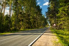 Empty Asphalt Road With Bunch Of Green Forest Trees. Royalty Free Stock Photography