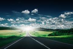 Empty asphalt road at daytime. Beautiful nature landscape Stock Image