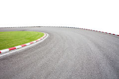 Empty asphalt road with green grass on white background for desi Royalty Free Stock Image