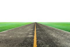 Empty asphalt road with green grass on white background for desi. Gn and background Stock Photo