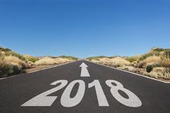 Empty asphalt road and New year 2018 goals concept - royalty free stock photos