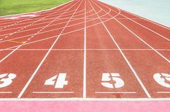 Empty athletic running track lanes texture with number Royalty Free Stock Photo