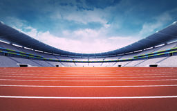 Empty athletics stadium with track at panorama day view Stock Photo