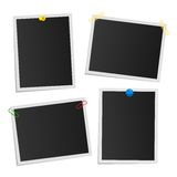 Empty attached photos collection on white. Poster of dark pictures with white frames. Cards or reminders templates. Attached with pushpins, paperclips and Royalty Free Stock Images