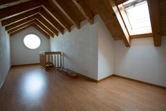 Empty attic after renovation work on an old house Stock Photography