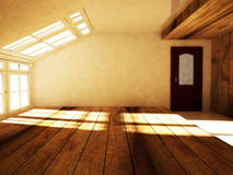 An empty attic  with the window Stock Photo