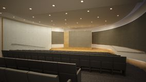 Empty auditorium. At university. Interior design idea. Computer graphic rendering Royalty Free Stock Photography