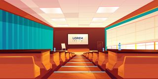 Empty auditorium, lecture hall or meeting room. Empty classroom, lecture hall, theater or meeting room interior, modern university auditorium with wooden rows of royalty free illustration