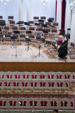 Empty auditorium and the stage before the concert Royalty Free Stock Image
