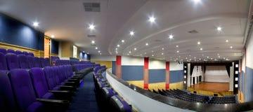 An Empty Auditorium-Theatre. 3 image stitched panorama of an empty auditorium or theatra stock images