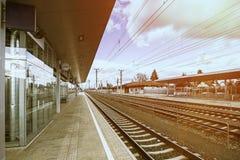 Empty Austria suburb railway station.  Stock Images