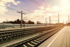 Empty Austria suburb railway station.  Stock Photos