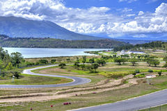 Empty auto race track. Auto race track Yahuarcocha, empty, on a sunny summer day Stock Photography