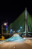 Empty avenue - cable stayed bridge in Sao Paulo - Brazil - at night stock photo