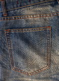 Empty back pocket of jeans. Empty back pocket of jeans, background texture Royalty Free Stock Images