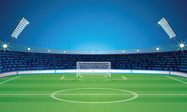 Empty Backdrop Template with Soccer Field Stadium. Empty Backdrop Template with Empty Soccer Field Stadium. Vector Image Stock Images