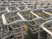 Empty baggage trolley or cart at the airport Royalty Free Stock Photos