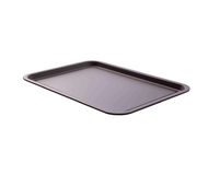 Empty Baking Tray For Pizza Close Up Top View Isolated Square. Mock Up For Design Royalty Free Stock Images