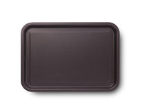 Empty Baking Tray With Shadow For Pizza Close Up Top View Isolated Square. Mock Up For Design Royalty Free Stock Photos