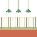Empty Balcony With Ceiling Lamps Royalty Free Stock Photos