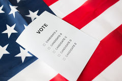 Empty ballot or vote on american flag. Voting, election and civil rights concept - empty ballot or vote on american flag Royalty Free Stock Photography