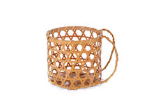 Empty bamboo basket with hilt on white background. Empty bamboo basket with hilt on a white background Stock Photos