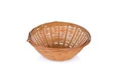 Empty bamboo basket on white background Stock Image