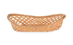 Empty bamboo basket on white background Royalty Free Stock Images