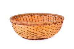 Empty bamboo basket on white background Royalty Free Stock Photo